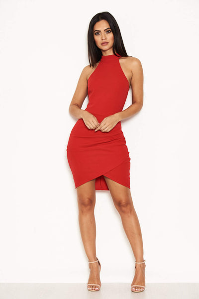 Red Choker Neck Ruched Detail Bodycon Dress