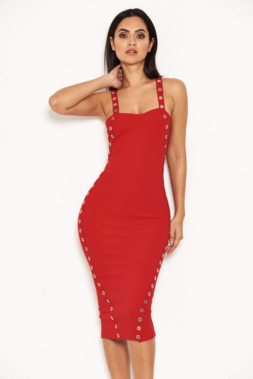 Red Eyelet Detail Bodycon Midi Dress