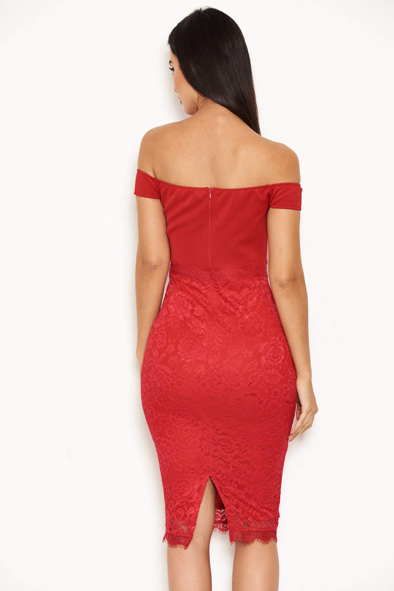 Red Notch Front Lace Detail Midi Dress