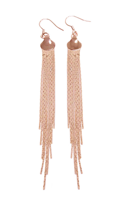 Gold Sleek Drop Chain Earrings