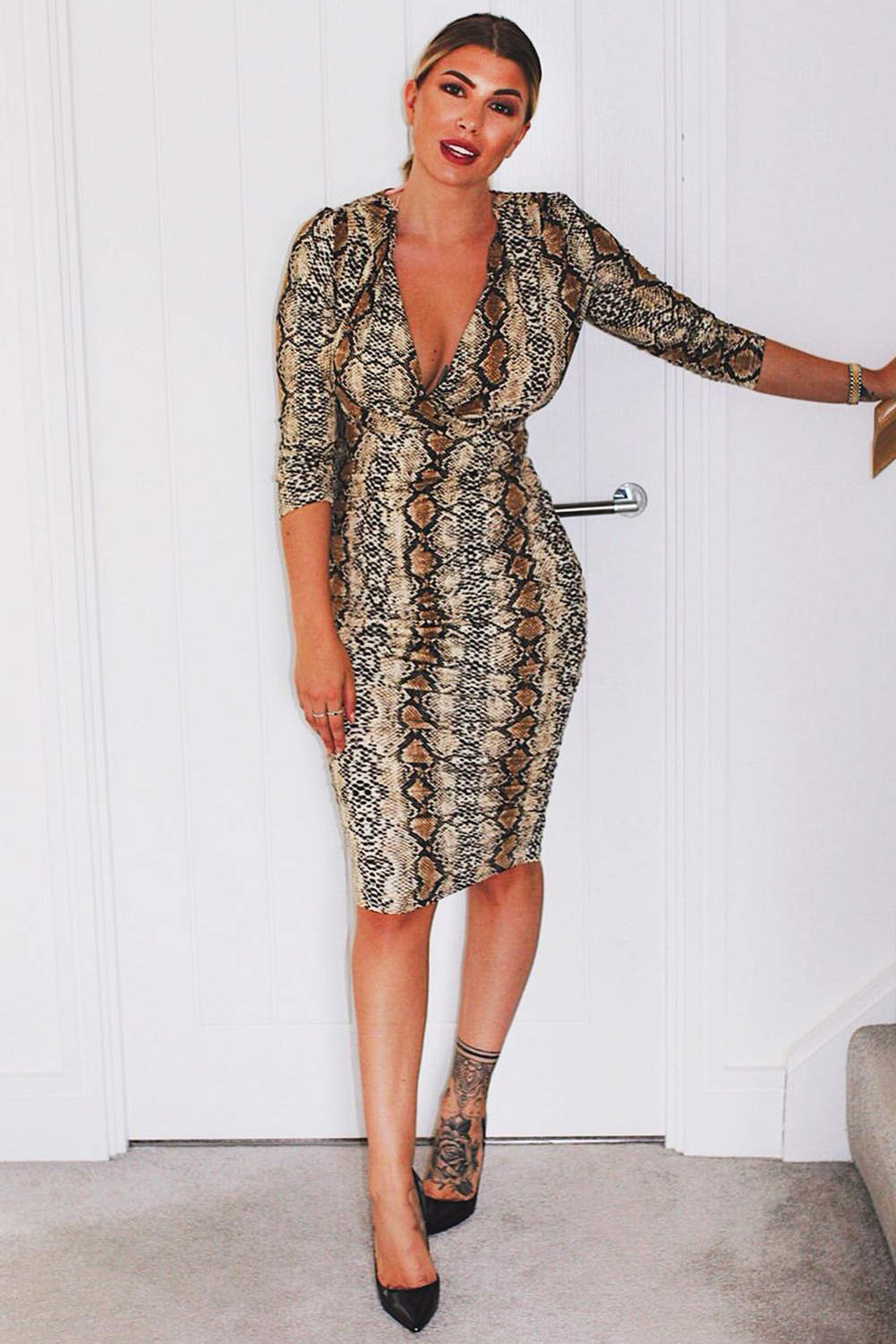 Ruched Snakeskin Slinky Wrap Dress