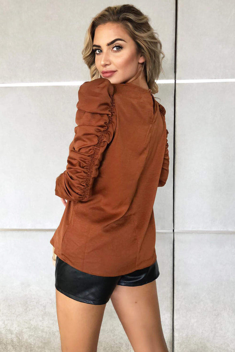 Rust Ruched Long Sleeve Top