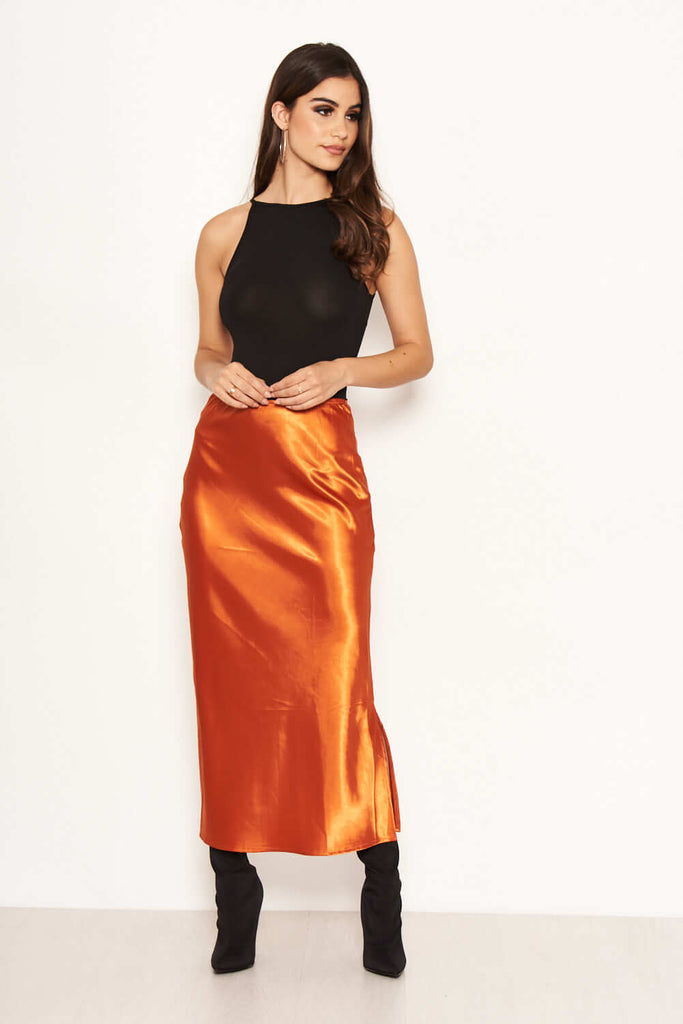 Rust Satin Midi Skirt