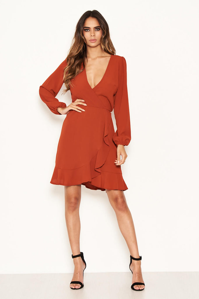 Rust Frill Wrap Long Sleeve Dress