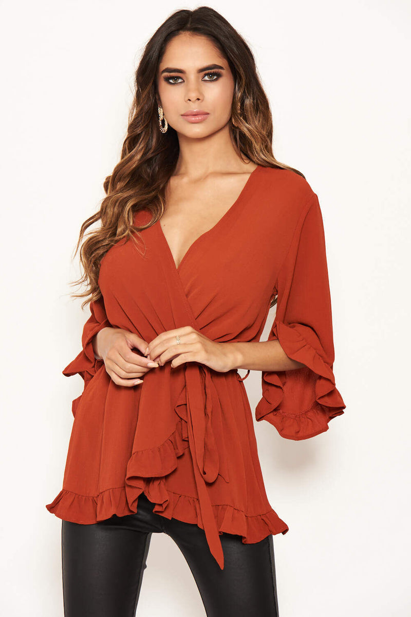 Rust Wrap Frill Top