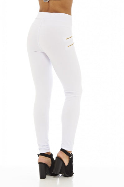 White Zip   Detail  Leggings