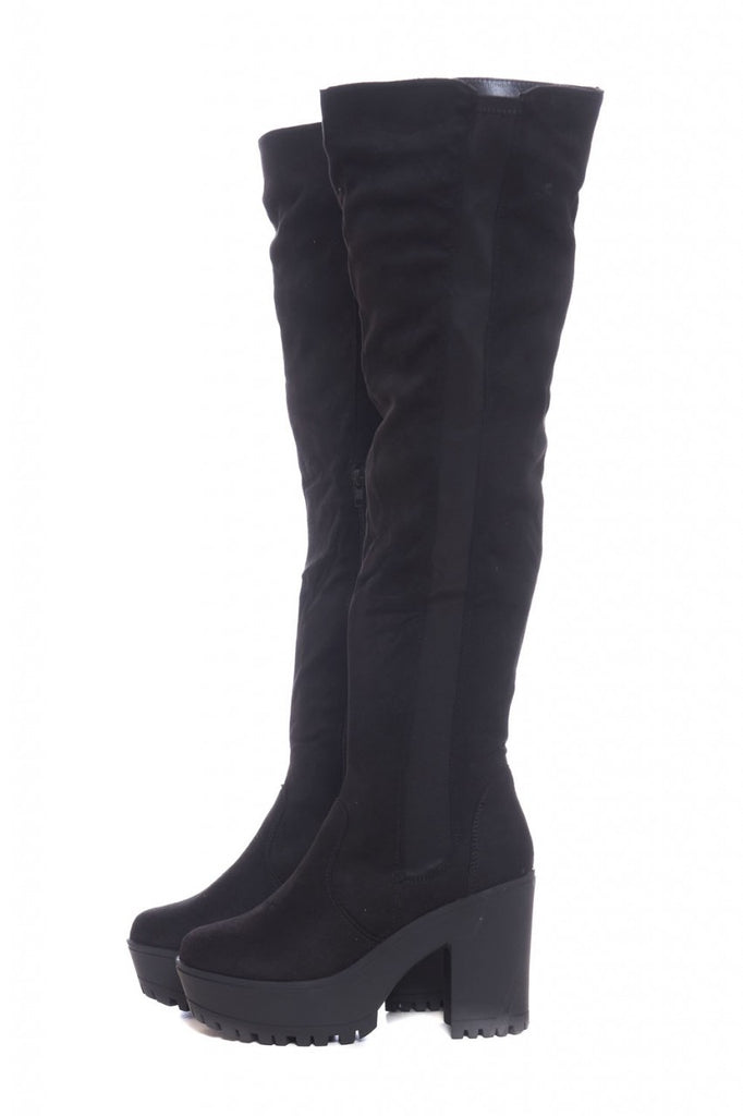 Elastic Detail Knee High Boots