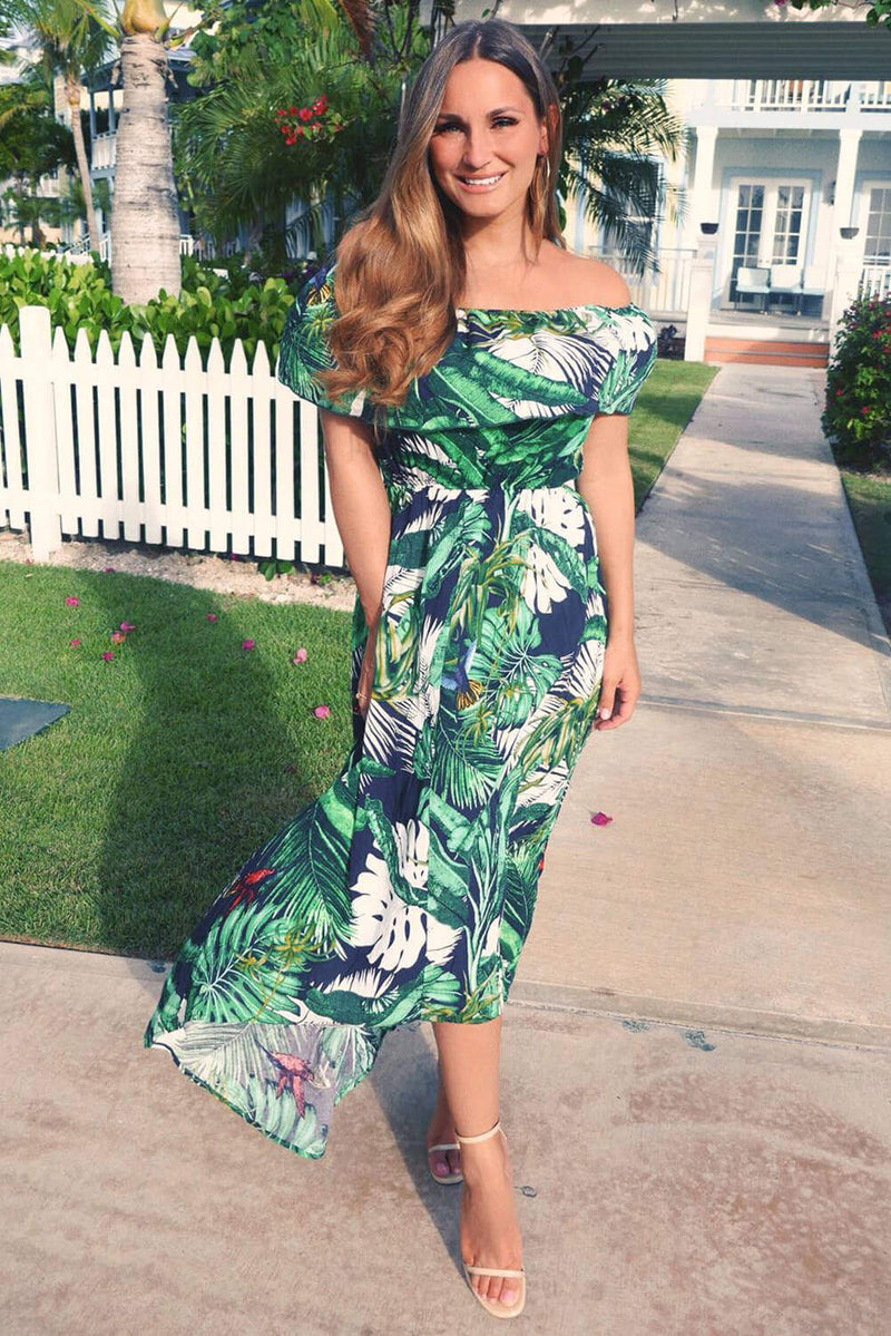 Navy Leaf Printed Bardot Frill Dress
