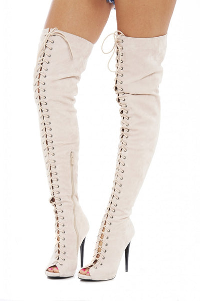 Thigh Lace Up Boot Heels