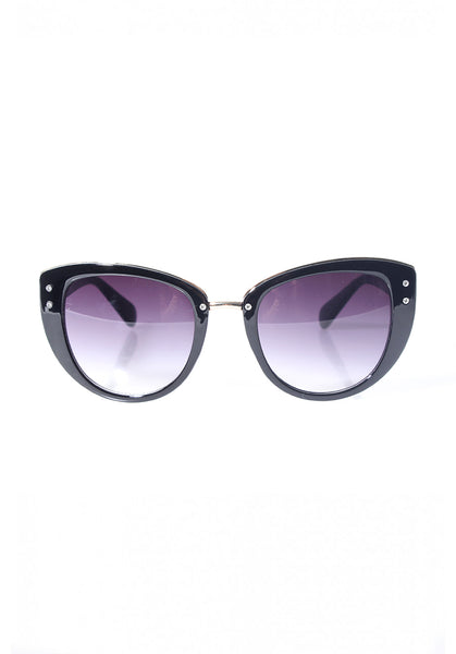 Black Cat Eye Sunglasses with Gold Detail