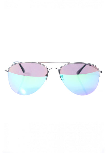 Silver Framed Aviator Sunglasses with Blue Mirrored Lenses