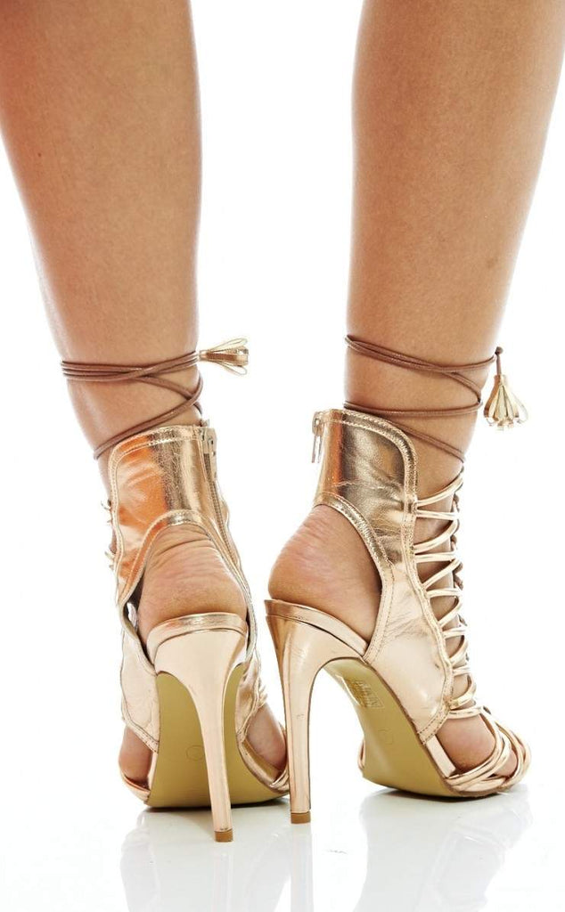 Metallic Lace Up    Front Heels