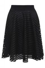 Black  Striped Skater Skirt  with  Mesh Insert