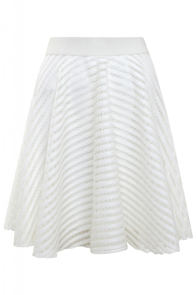 Cream Striped Skater Skirt with Mesh Insert