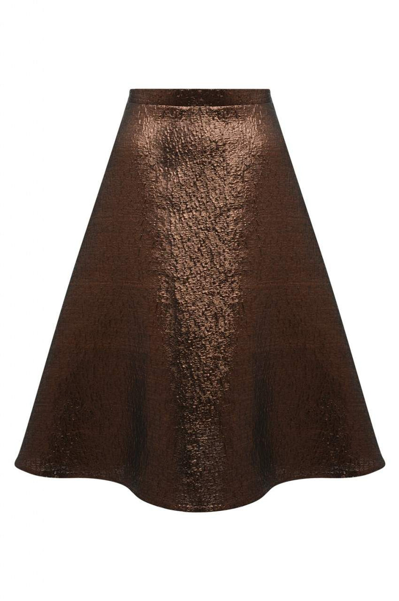 Bronze Metallic Midi Skater Skirt