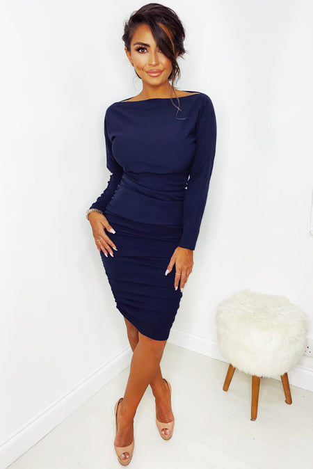 Navy Asymmetric Frill Hem Midi Dress