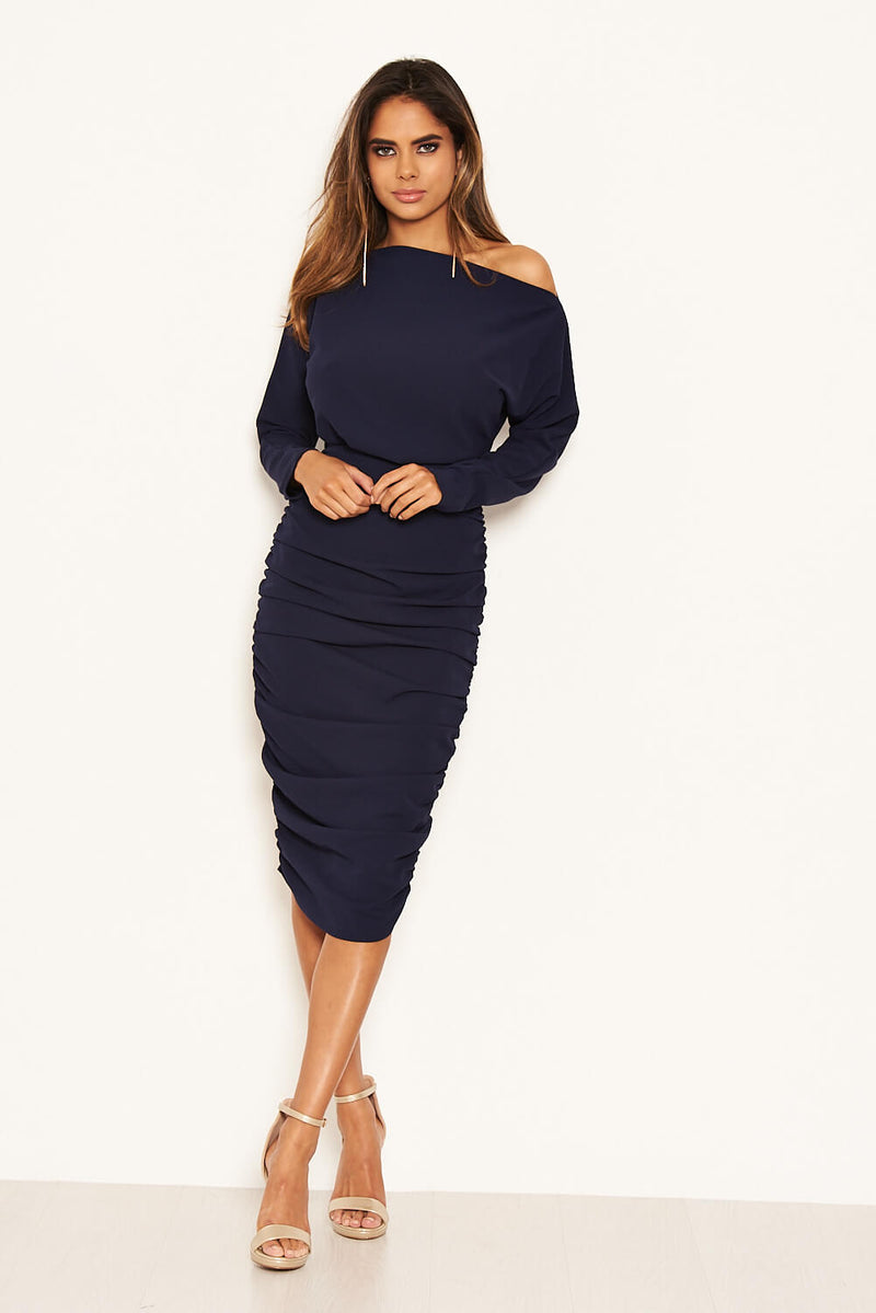 Navy Off Shoulder Ruched Dress