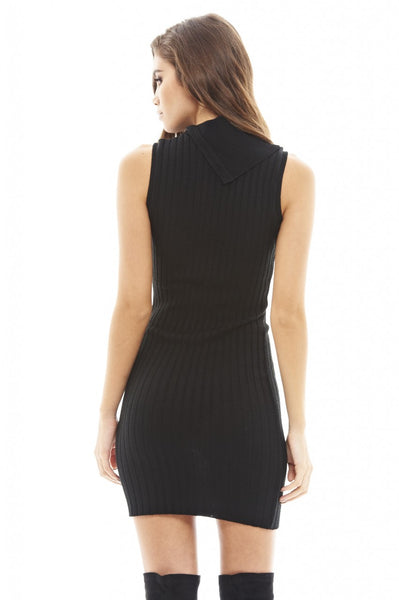 Ribbed Split Collar Dress