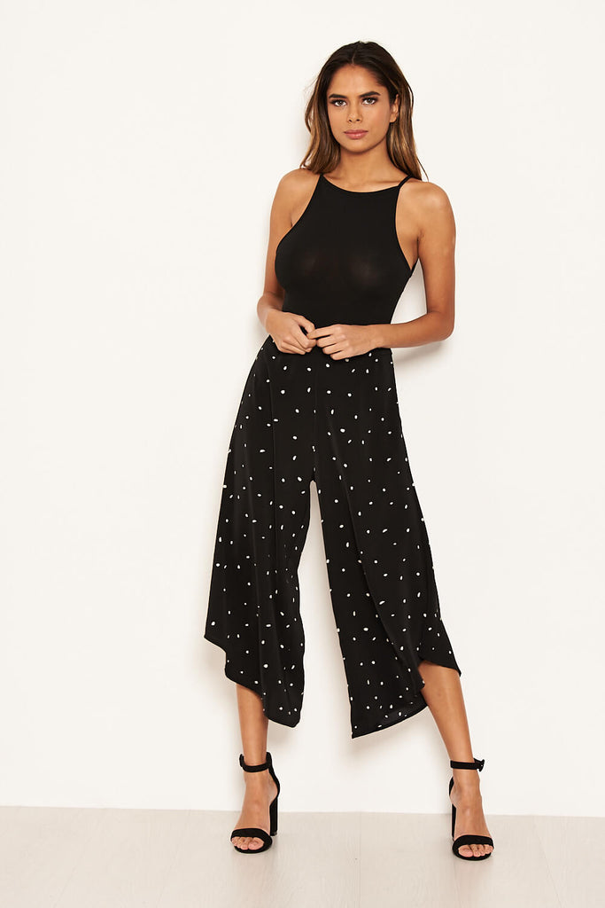 Black Polka Dot Culotte Flared Trousers