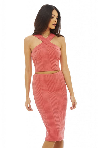 Ribbed Cut In Neck Co-Ord