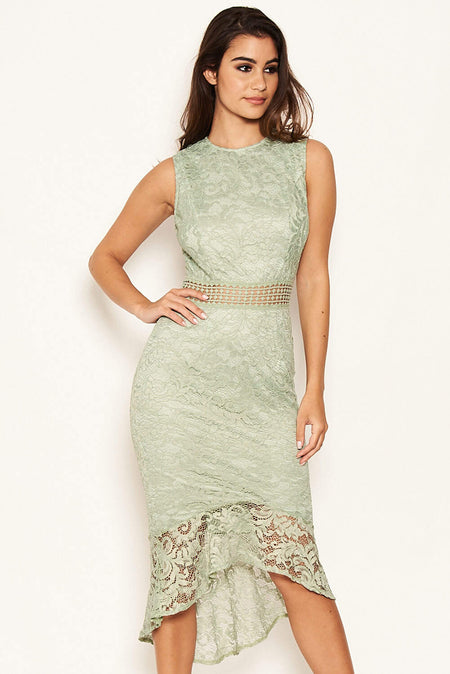 Teal Fishtail Hem Lace Midi Dress