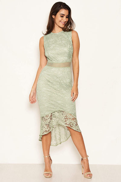 Sage Fishtail Hem Lace Midi Dress
