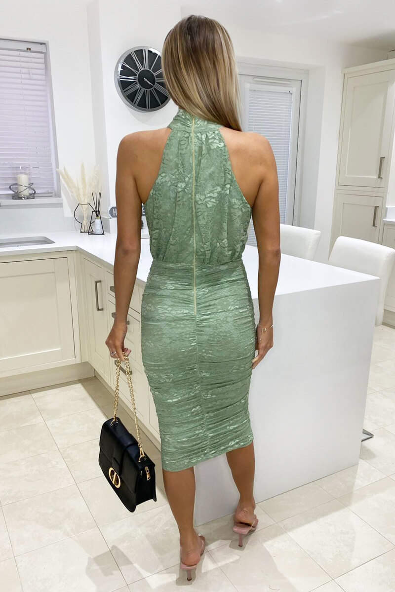 Sage Lace High Neck Ruched Dress