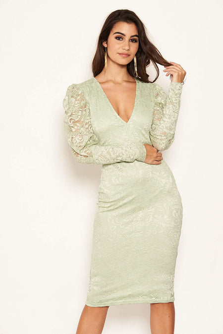Mushroom Lace Trim Bodycon Midi Dress