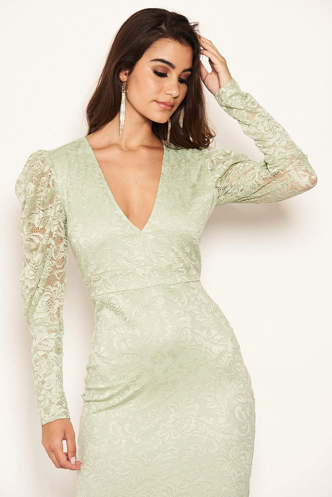 Sage Lace Puff Sleeve Midi Dress