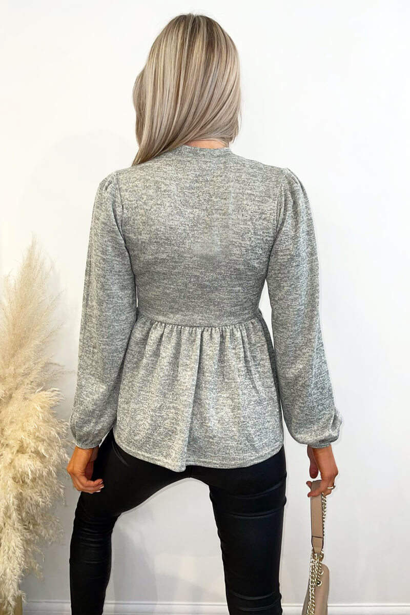 Sage Peplum Top