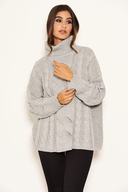 Duck Egg Cable Knitted High Neck Jumper