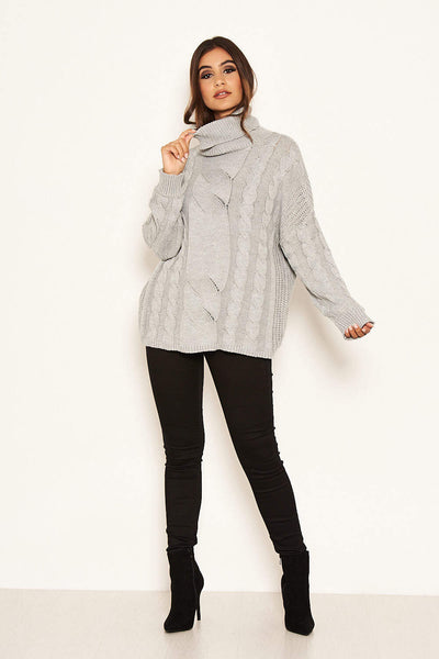 Silver Cable Knit Oversized Jumper