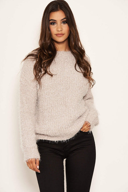 Camel Roll Neck Knit Jumper