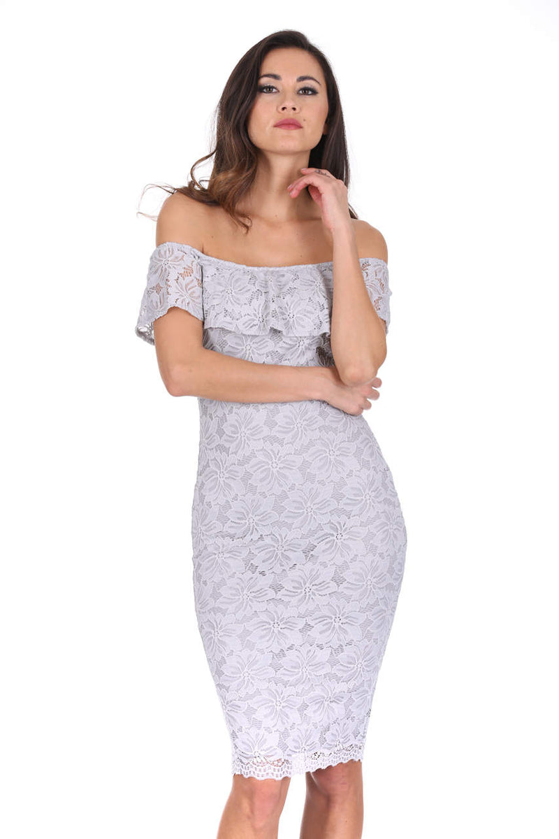 Silver Ruffled Off The Shoulder Lace Midi Dress