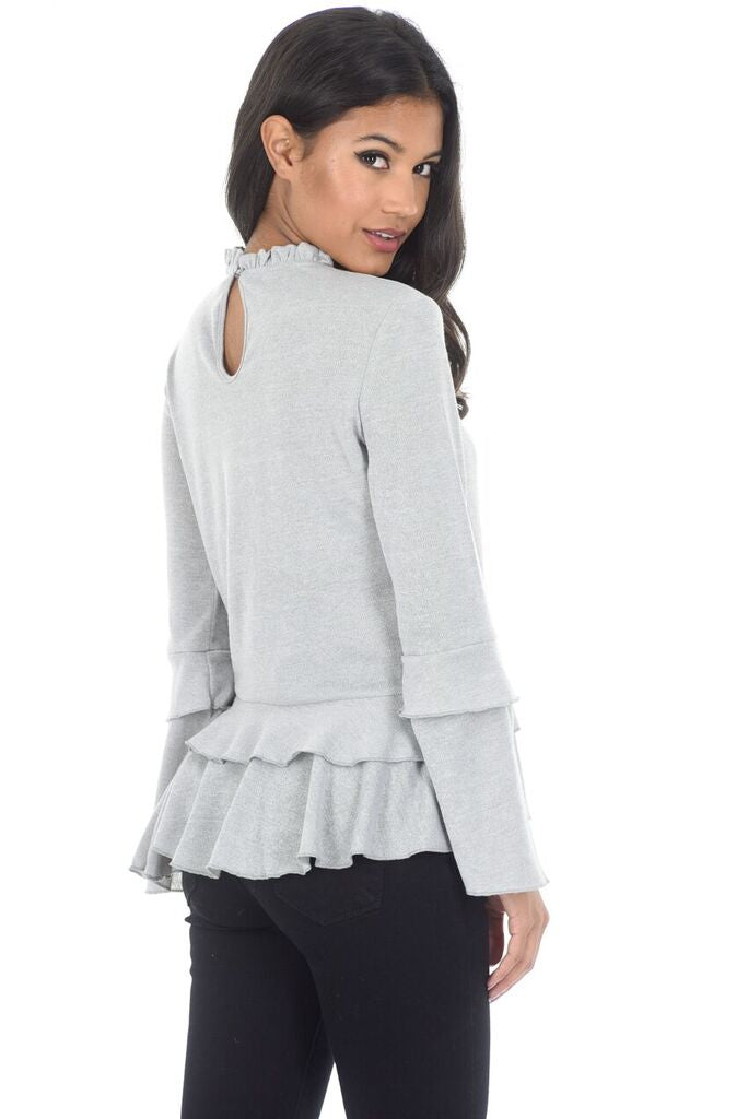 Silver High Neck Bell Sleeve Top