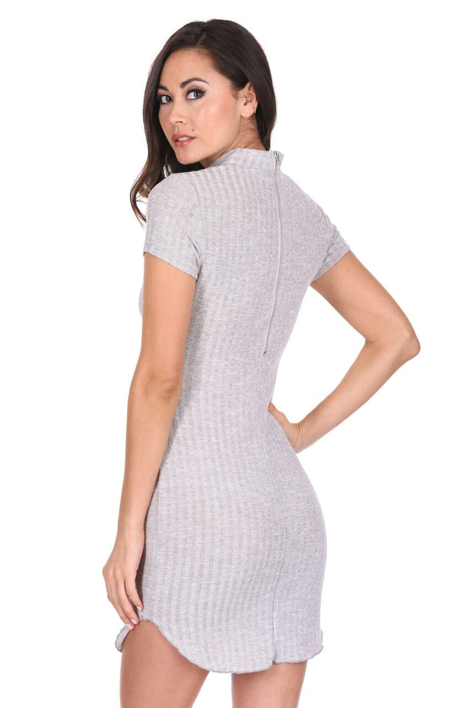 Silver High Neck Rib Knitted Dress
