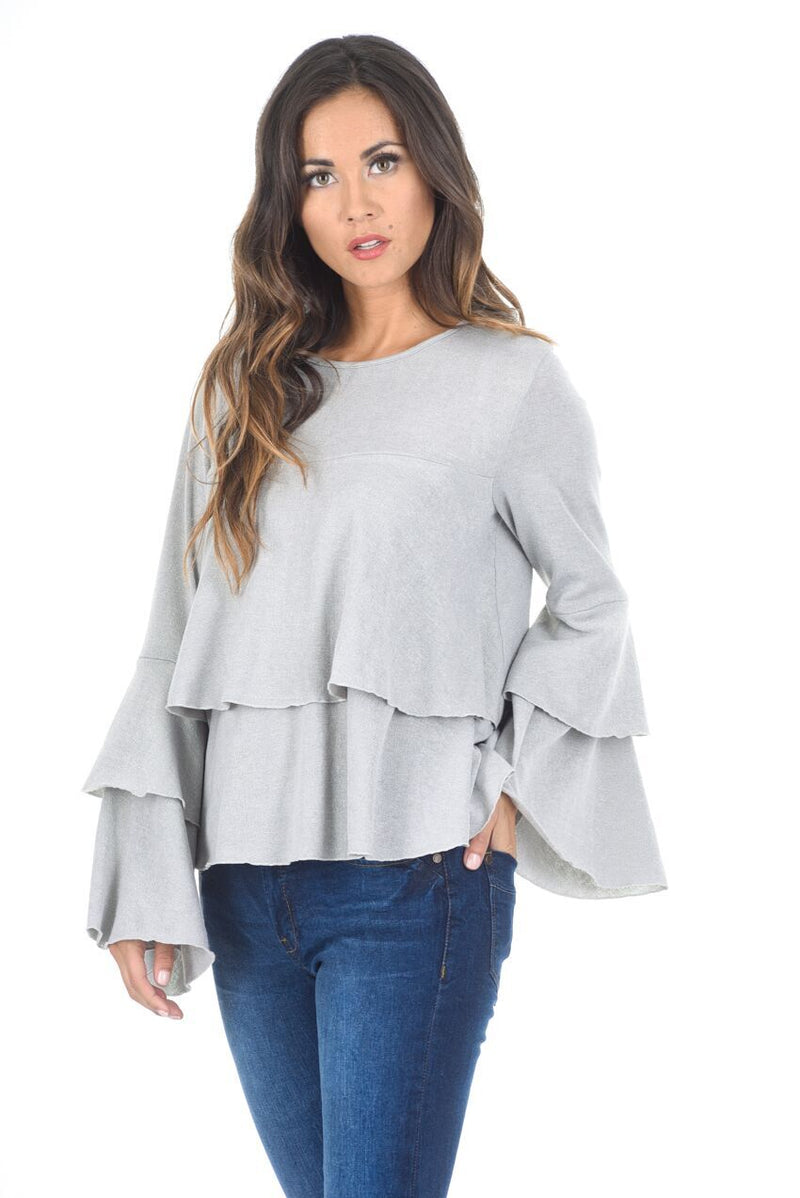 Silver Long Sleeve Frill Jumper