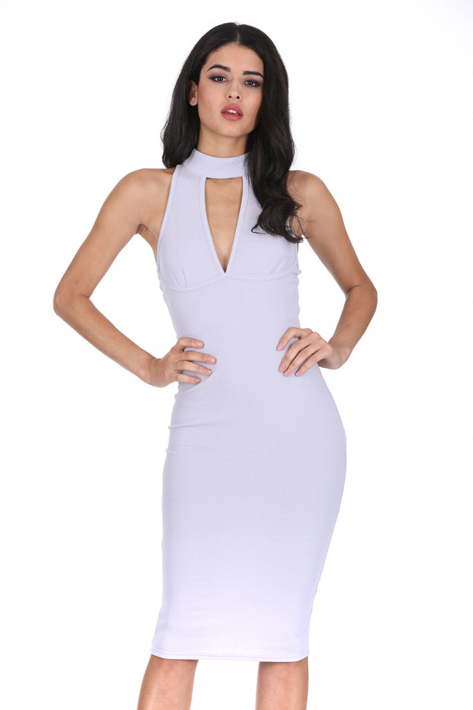 Silver Choker Neck Midi Dress