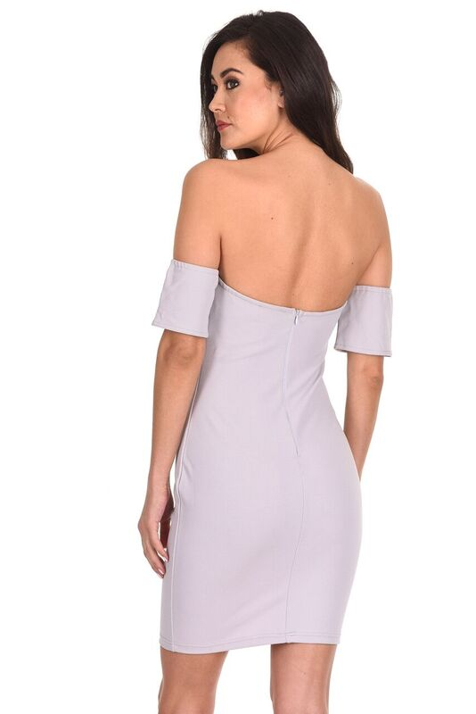 Silver Off The Shoulder Mini Dress