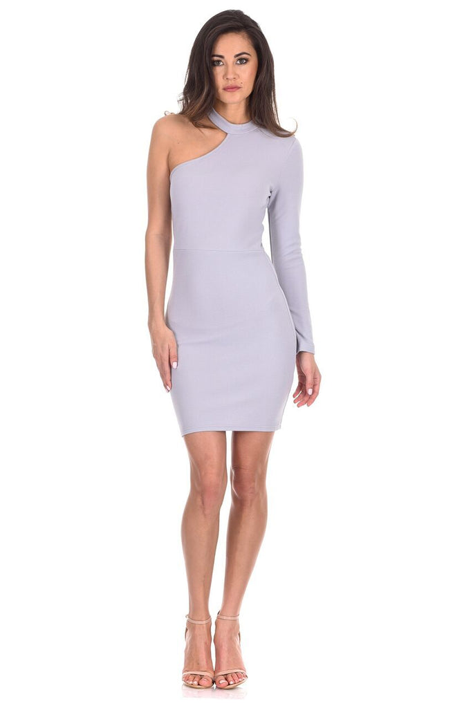 Silver One Sleeve Choker Bodycon Dress