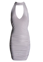 Silver V Neck Choker Neck Ruched Dress