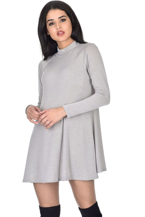 Silver Knitted Mini Swing Dress