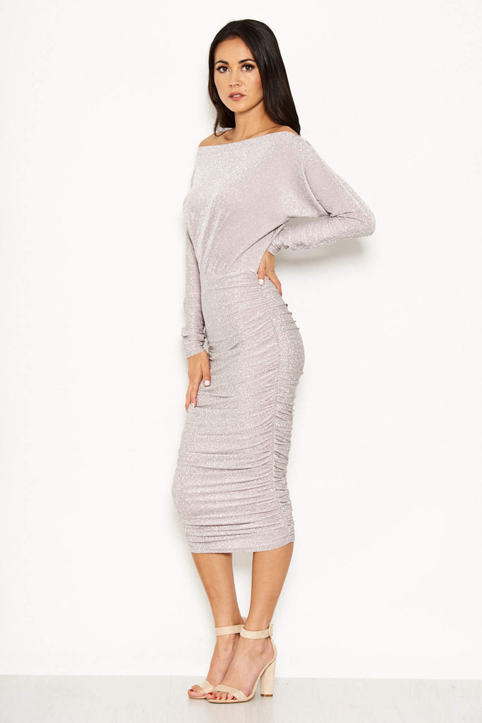 Slash Neck Glitter Ruched Dress