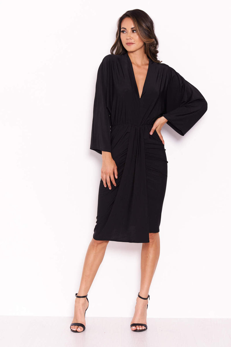 Slinky Black Midi Dress With Wrap Detail