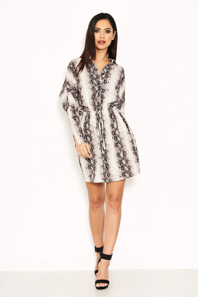 Snake Print Bat Wing Dress