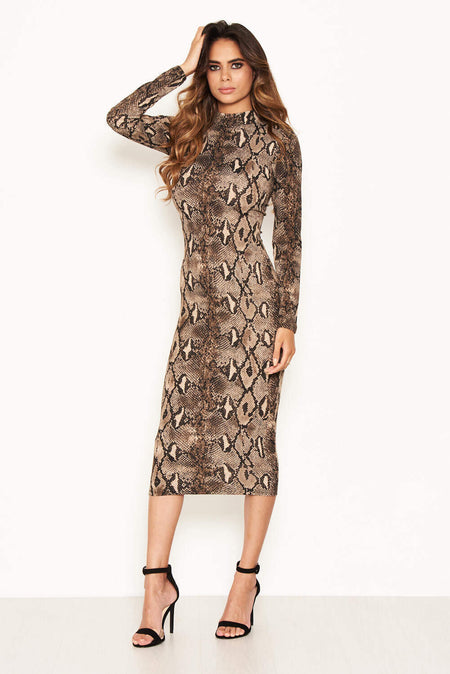 Leopard Print Frill Wrap Dress