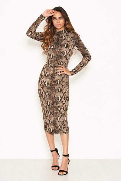 Snake Print Bodycon Midi Dress