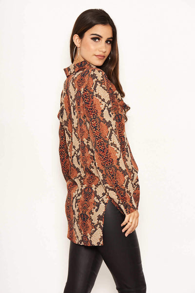 Snake Print Cowl Neck Top