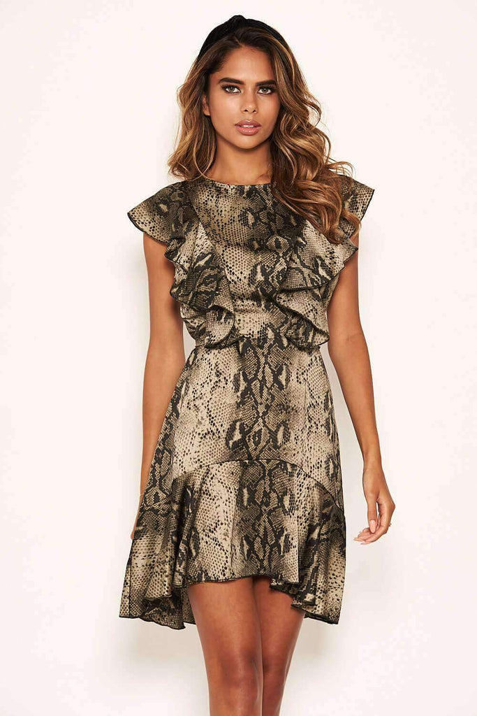 Snake Print Frill Detail Dress