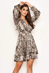 Snake Print Frill Wrap Dress